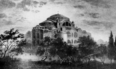 Die Hagia Sofia zu byzantinischer Zeit.